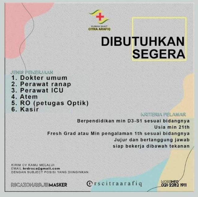 Loker Dokter Rumah Sakit Citra Arafiq Depok, Jawa Barat