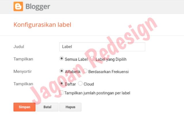 Cara membuat label di Blogger Ala Arlina Desain