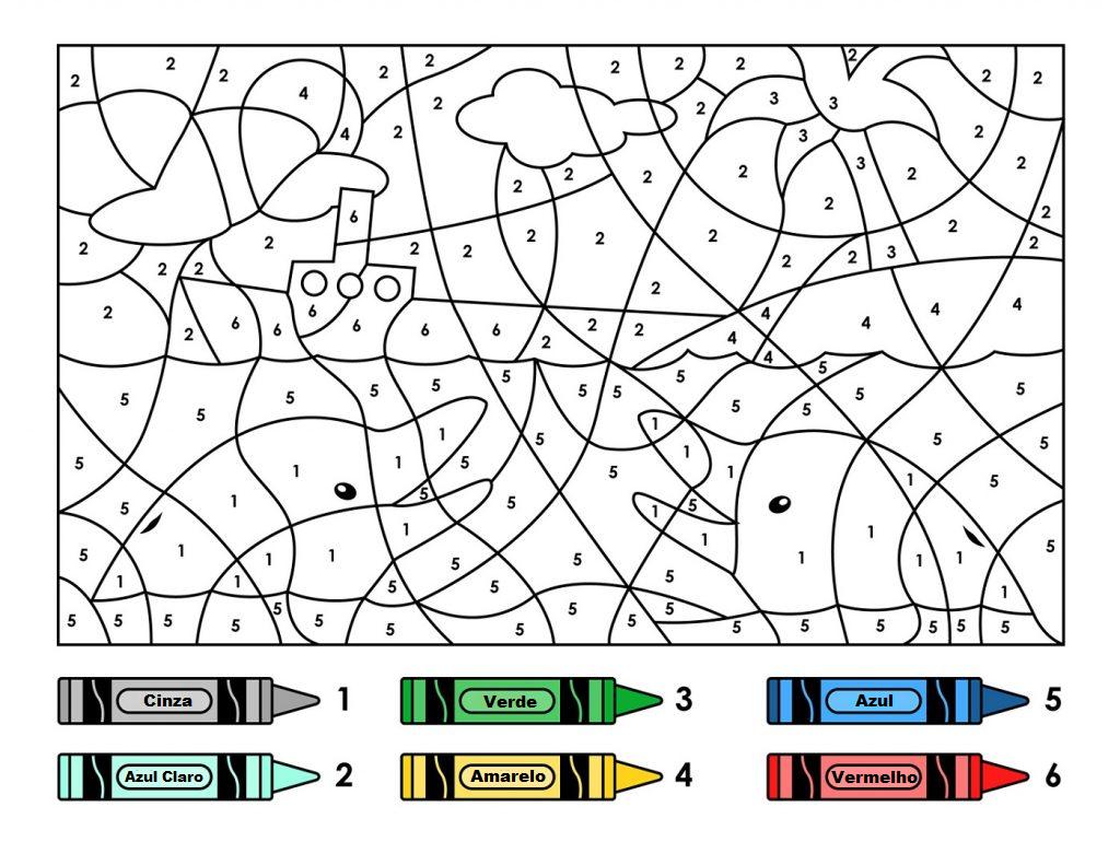 Desenho com Número para Colorir | Golfinhos