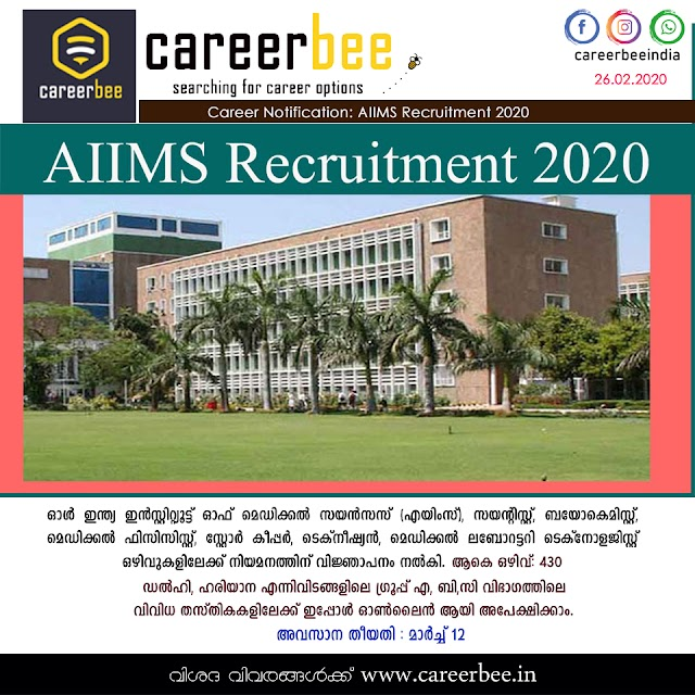 AIIMS Recruitment 2020 – Apply Online for 430 Scientist, Technician & Other Vacancy