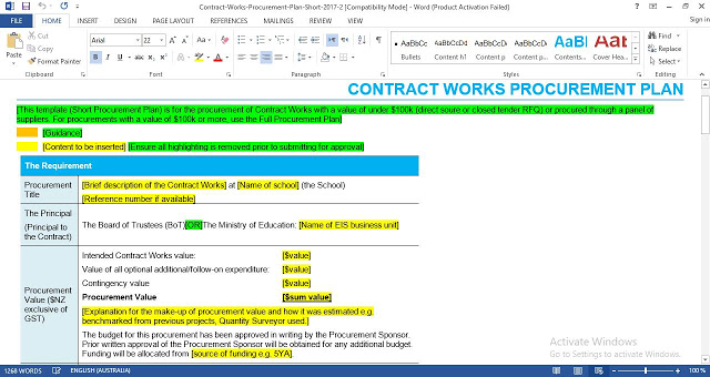 Contract Works Procurement Plan Template