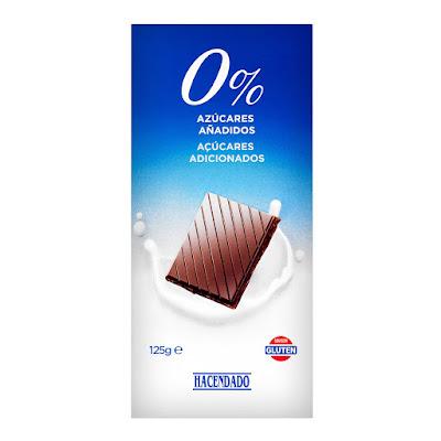 Chocolate con leche extrafino 0% azúcares añadidos Hacendado
