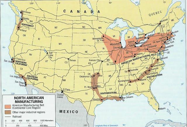 regiones industriales de Estados Unidos