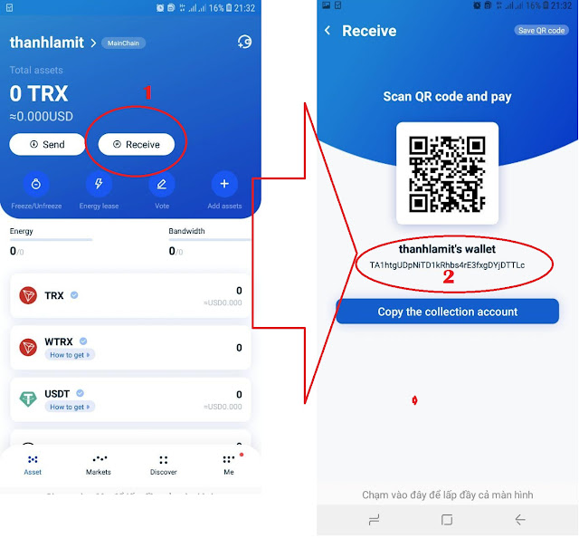 How to get TRX address on TronLink Wallet