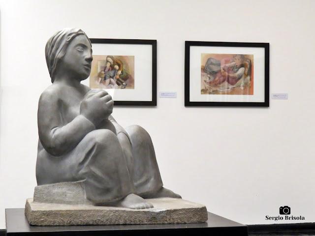 Fotocomposição com a Escultura Maternidade em destaque - Museu Lasar Segall - São Paulo