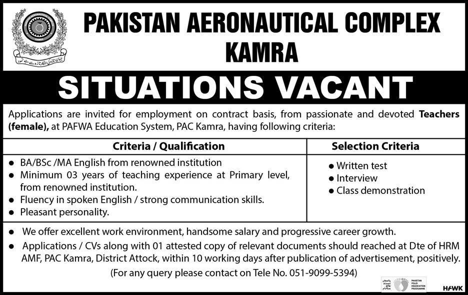 Female Teachers Jobs in Pakistan Aeronautical Complex  Kamra
