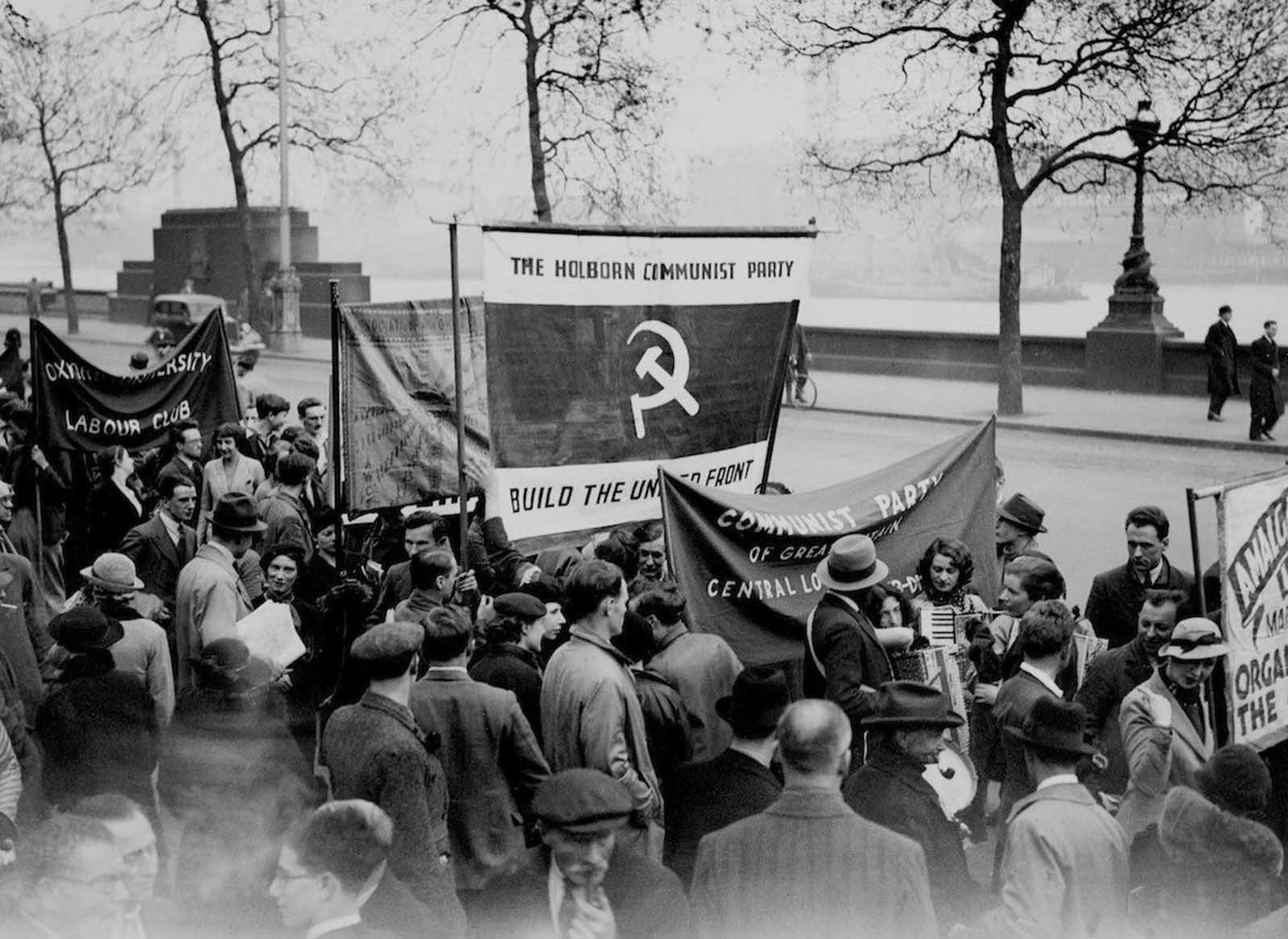 May Day Communist demonstration in Hyde Park, London. 1936.