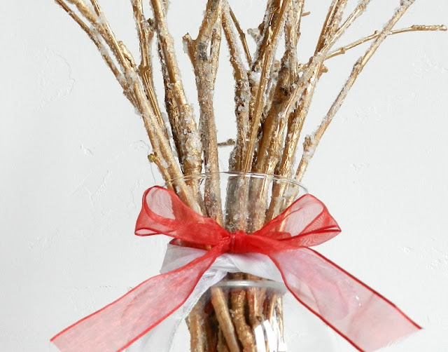 DIY Frosted Twig Holiday Bouquet