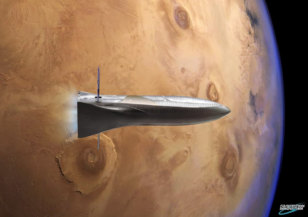 SpaceX BFR spaceship leaving Mars by Gravitation Innovation