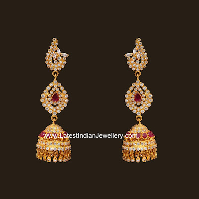 CZ Gold Jhumka earrings