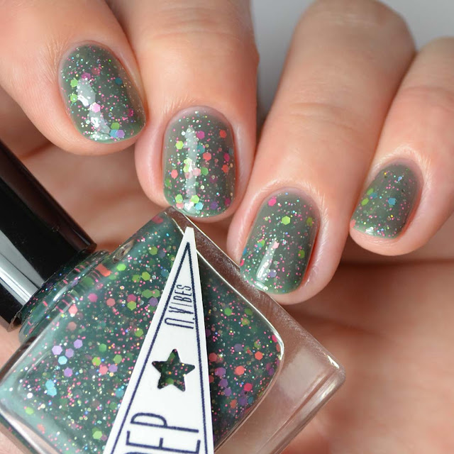 green jelly nail polish with neon glitter