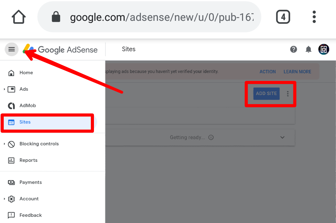 Login To AdSense > Sites > Add Site [URL Must Be A Valid Top-Level Domain]