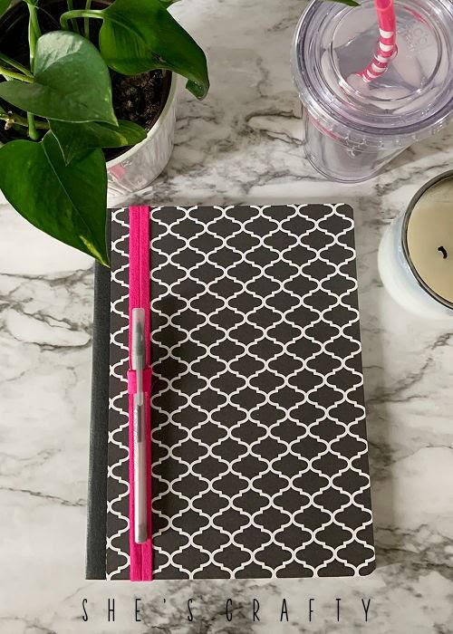 DIY Pen holder on composition notebook journal