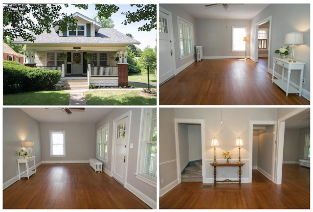 color exterior and interior photos of Sears Vallonia in Cincinnati Ohio showing living room and dining room and front