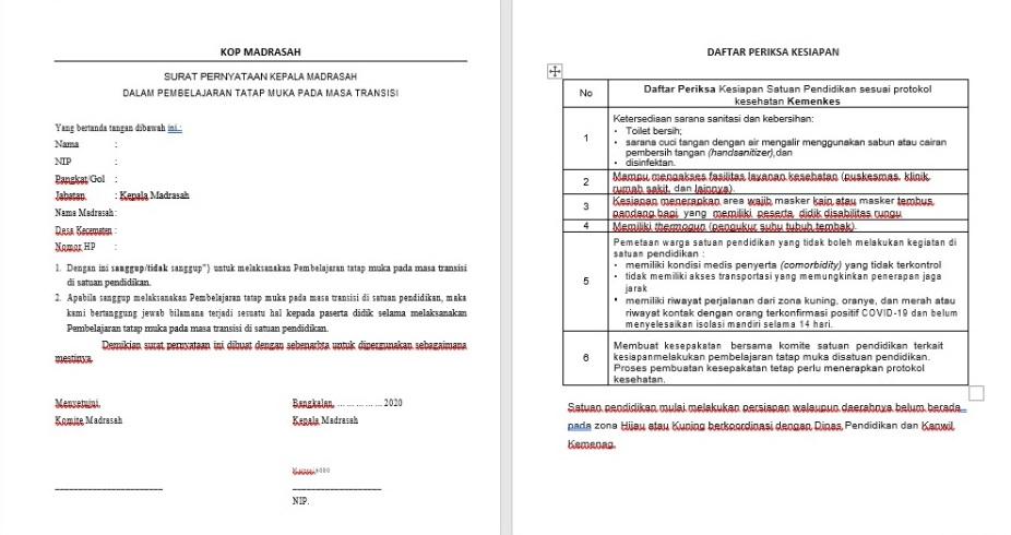 Contoh Surat Pernyataan Kepala Madrasah Dalam Pembelajaran Tatap Muka Pada Masa Transisi Admin Bawean