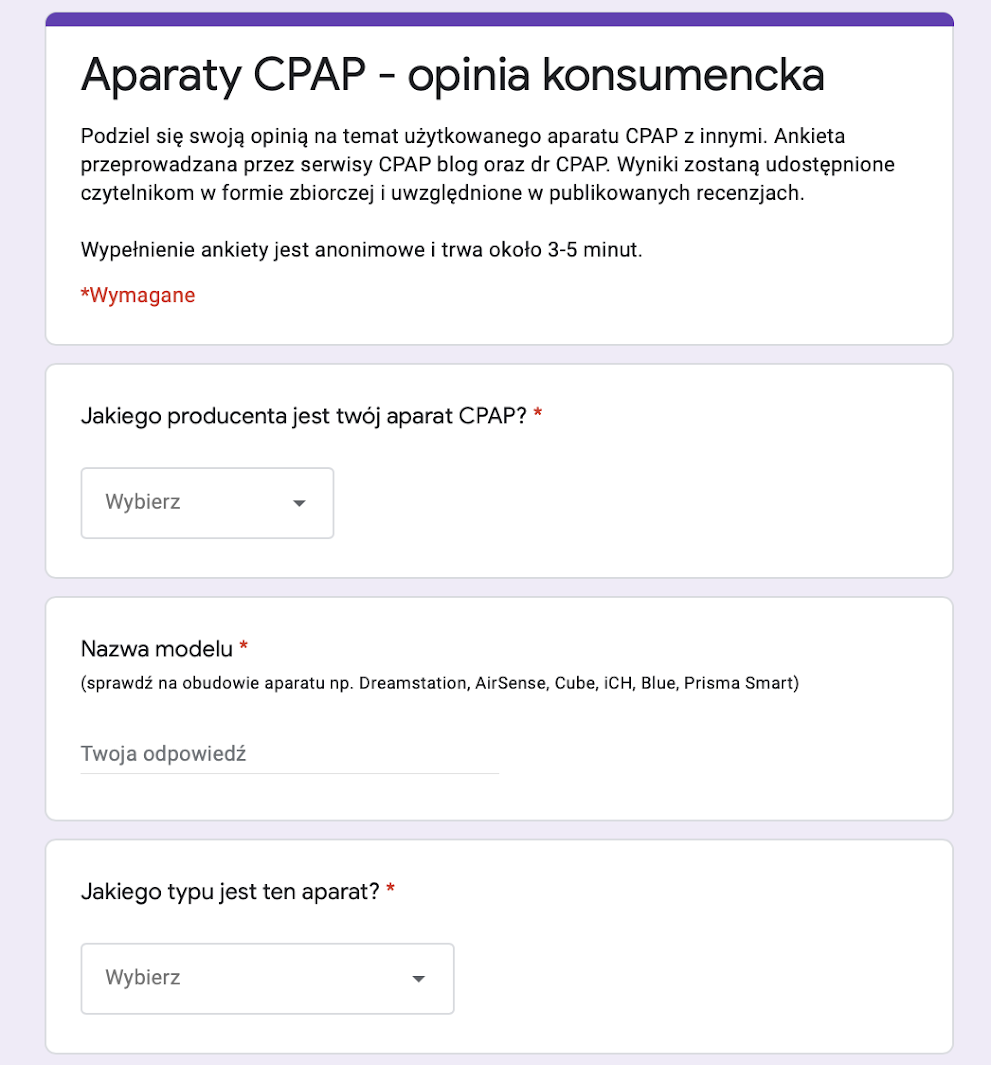 Jak aparaty CPAP są oceniane przez użytkowników - podsumowanie ankiety konsumenckiej