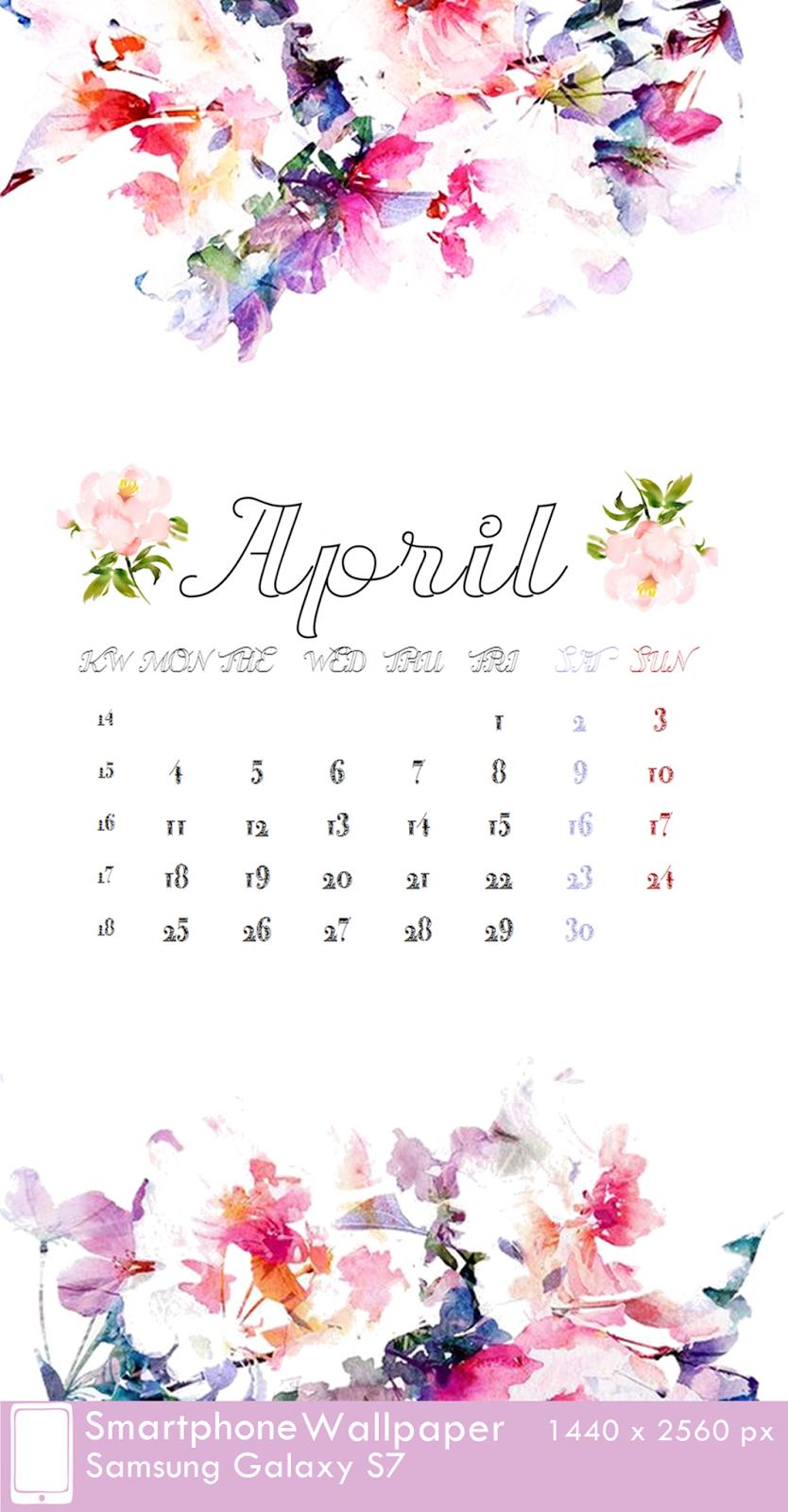 Samsung Galaxy S7 Wallpaper Calendar April 2016 fest 1440 x 2560 px