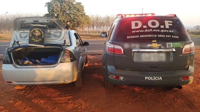 Veículo carregado com 76 quilos de maconha foi apreendido pelo DOF na região de Brasilândia