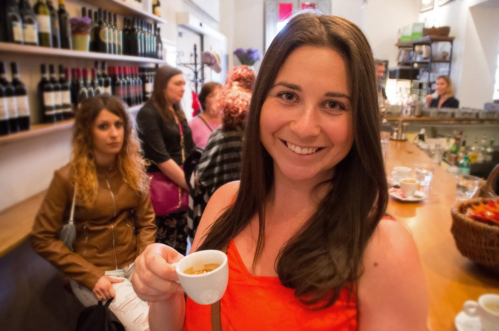 Simone having coffee in Rome