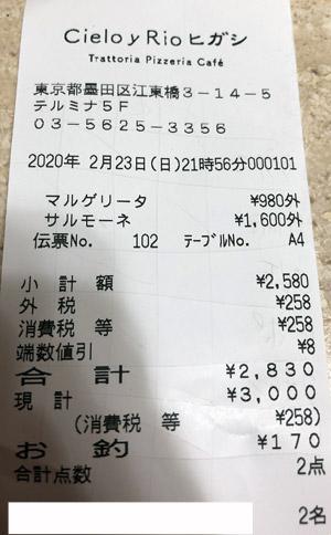 シエロイリオ ヒガシ (Cielo y Rio ヒガシ) 2020/2/23 飲食のレシート