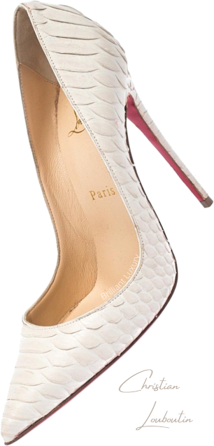 Christian Louboutin So Kate creme python snakeskin pumps #brilliantluxury