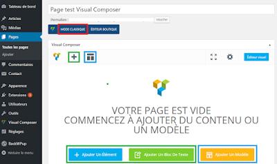 Éditeur de page de Visual Composer