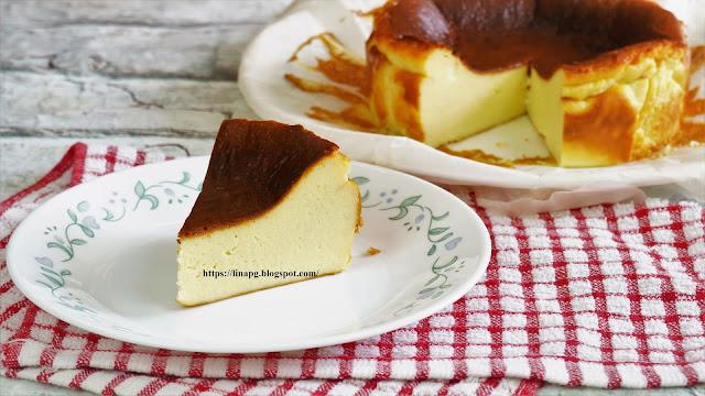 resepi burnt cheese cake, basque burnt cheese cake, cheese cake mudah, kek keju sedap,burnt cheese cake guna air fryer,kek guna blender, burnt cheese cake lina pg,