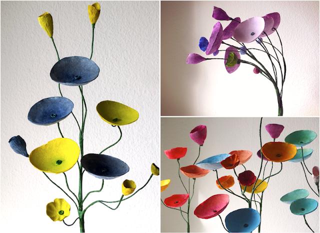 Nozze sostenibili con i fiori di carta, centrotavola a forma di ramo