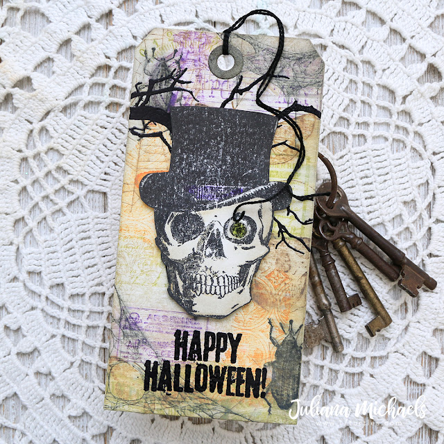 Happy Halloween Tag featuring Stamp and Smear Background Technique with Distress Oxide Inks. Products used include Tim Holtz Stampers Anonymous stamps and Ranger Ink