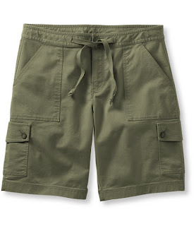 Retailer's image of olive green cargo shorts with drawstring waist, front pockets and button front-side pockets