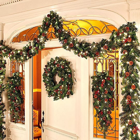 a good decorators tip is to start with the fake garland add your lights and then work in the fresh greenery so that the lights are softened and sort of - Fresh Christmas Greenery