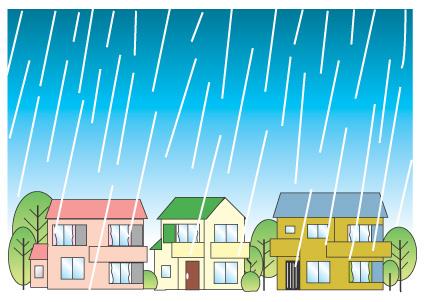 住宅地に雨が降っているイラスト