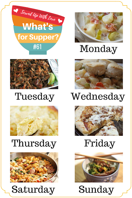 Beef and Broccoli, Crock Pot Potato Soup, Barbecue Pizza, Cornbread Chicken Casserole, and more at What's for Supper Sunday recipe meal plan at Served Up With Love.