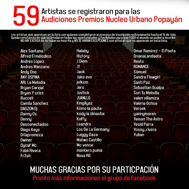 Registrados para audiciones Popayan