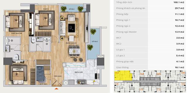 Thiết kế căn A-02 chung cư Mon Central