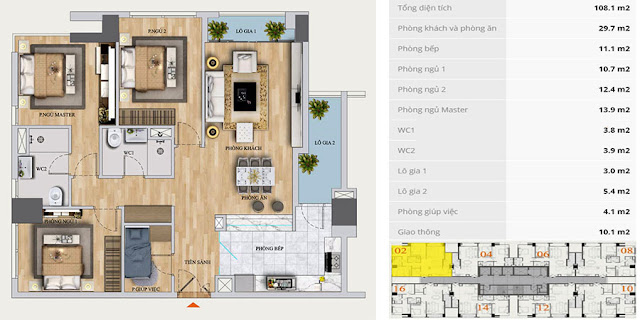 Thiết kế căn hộ A-02 chung cư Mon Central