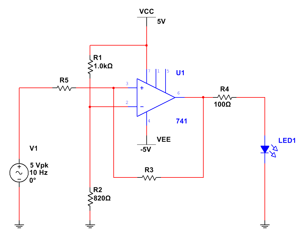 741circuit1 The Answer Is 42 How To Make An Op Amp Into A Comparator Lets Choose Some Parameters Say We Want Out Output Be High Led On When Input Signal Between 2v And 225v Those Are Known As Upper