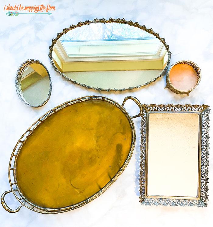 Vintage Vanity Mirror Tray Collection