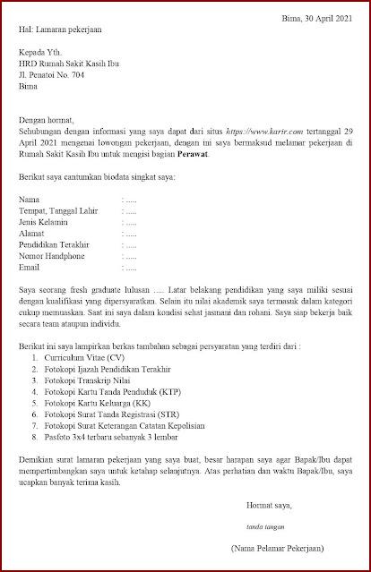 Contoh Application Letter Untuk Perawat (Fresh Graduate) Berdasarkan Informasi Dari Website