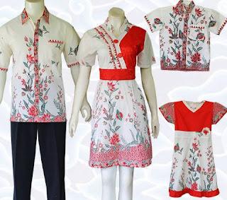 Baju batik atasan untuk keluarga ayah ibu anak