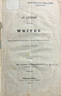 Title page of Boudinot's printed address