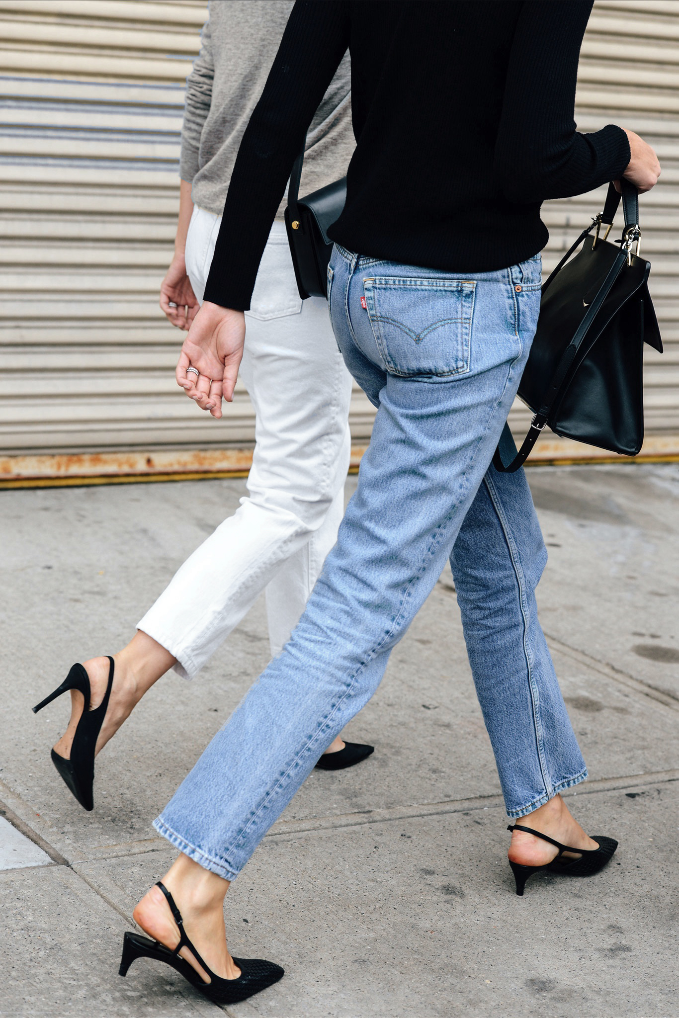 2 Easy Spring Outfit Ideas- Elin Kling in white jeans, and black sling back heels — black top, vintage Levi's jeans, and heels