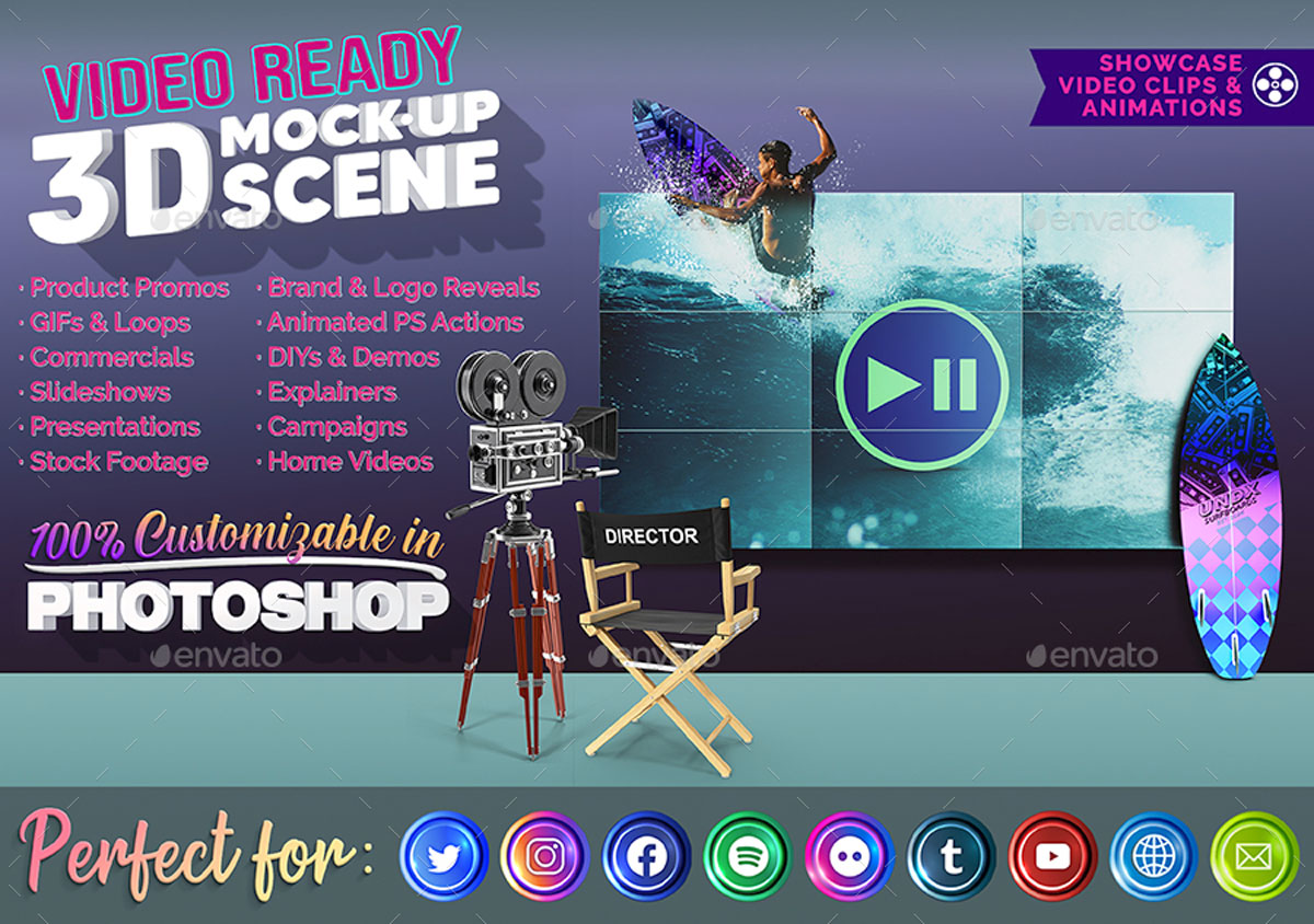 3D Animated Surfboard and HD Display Mock Up Scene Template 270563