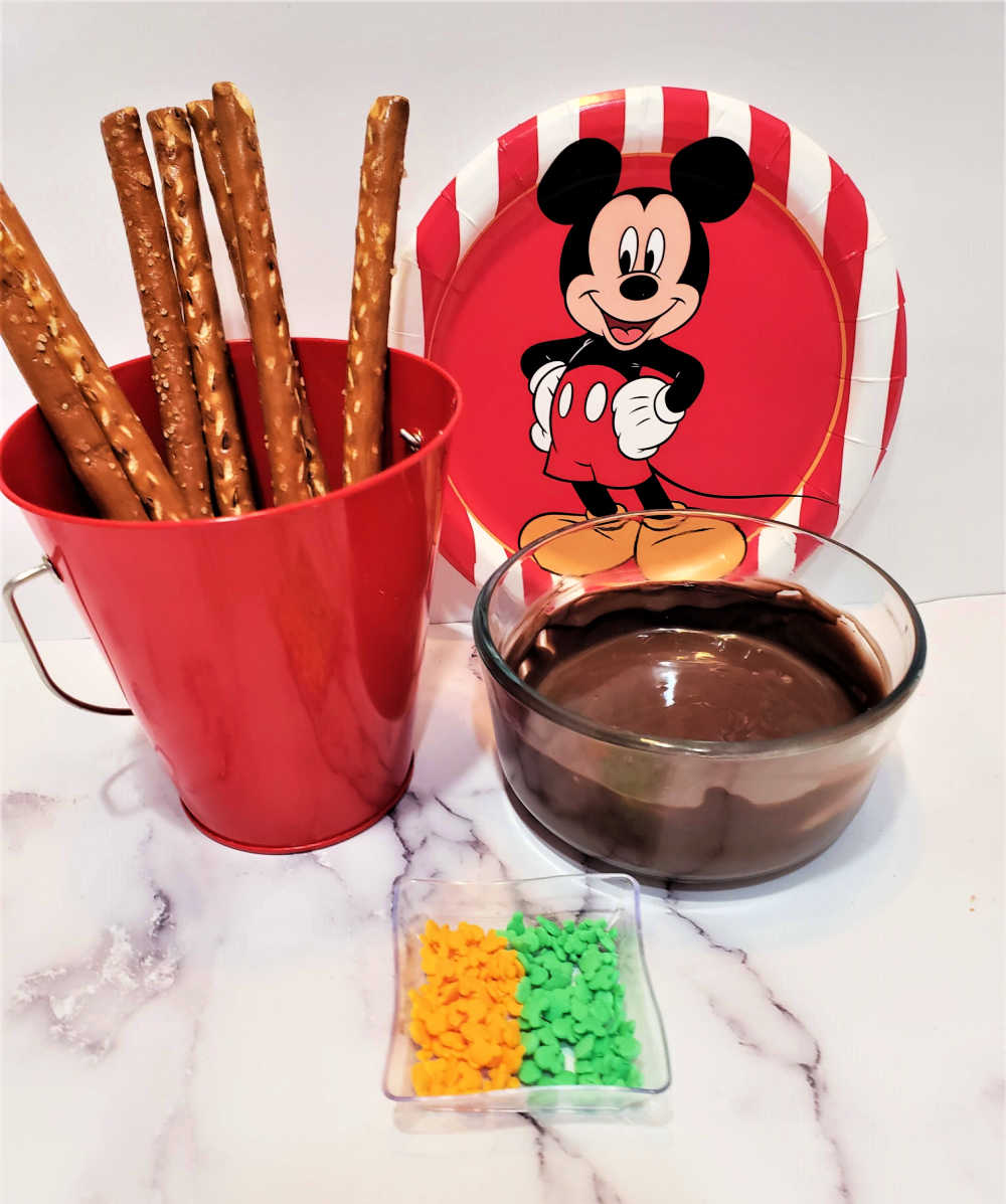 mickey mouse chocolate dipped pretzel rods