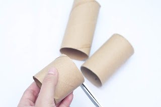 Empty toilet paper rolls for a DIY project