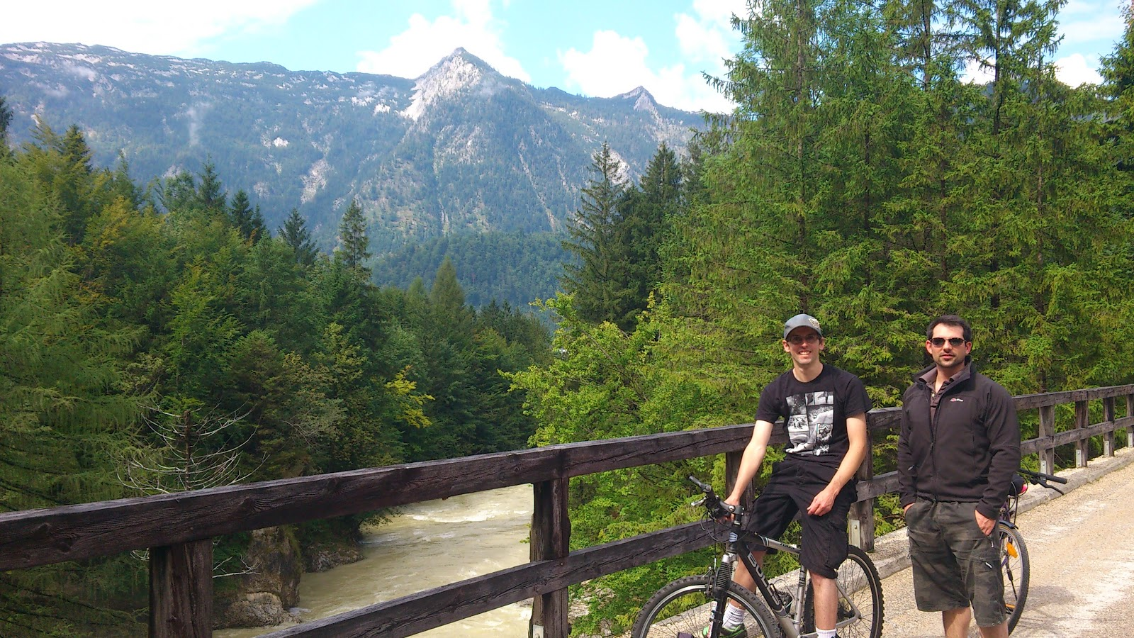 Crossing over the river Traun on our bikes above a dramatic waterfall.