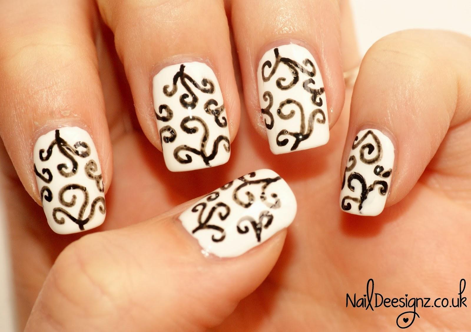 NailDeesignz: Black & White Swirls Nail Art