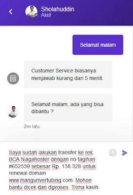 Konfirmasi pembayaran domain via live chat Niagahoster