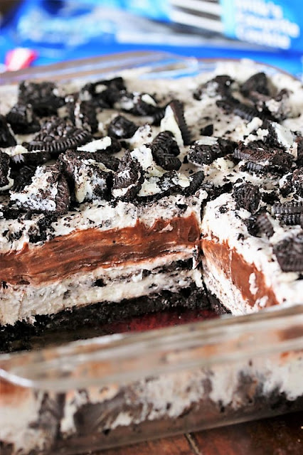 Layers of Oreo Yum Yum in Baking Dish Image