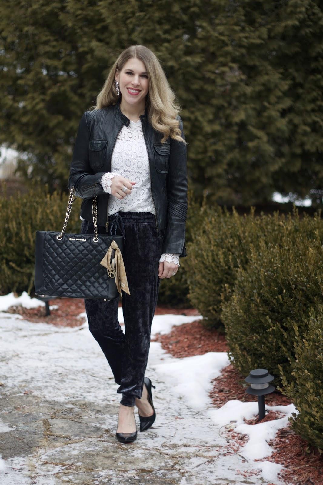 long sleeve white lace top, black moto jacket, blue velvet joggers, velvet joggers for date night